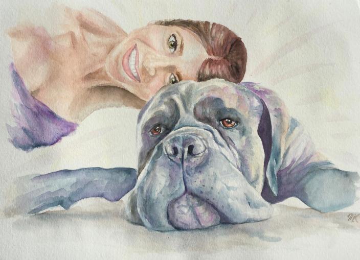 mastiff and owner