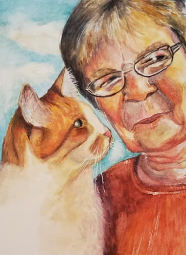 Memorial portrait mother and cat
