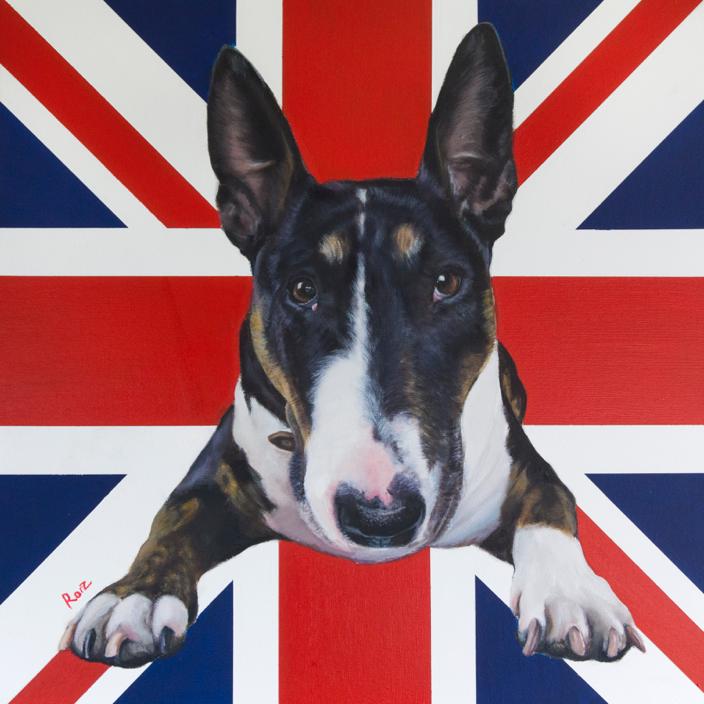 "'Badger' - English Bullnosed Terrier. Oil on Canvas, 30x30"""
