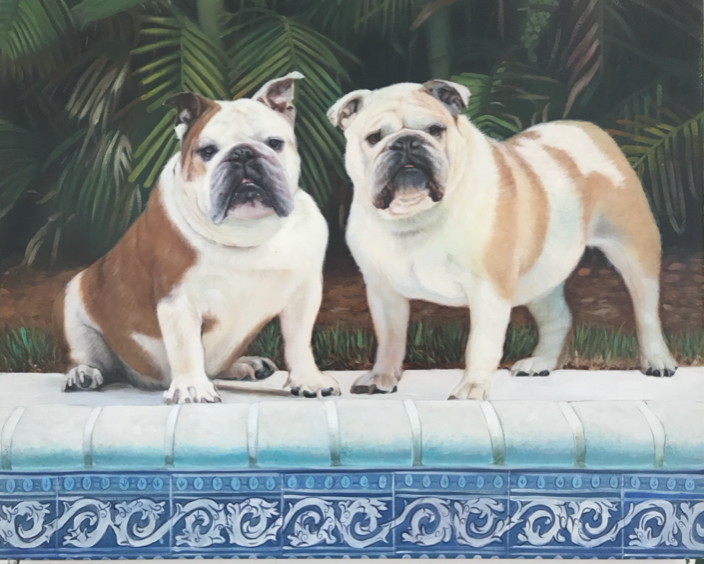 """'Coco and Leyla' - English Bulldogs - Oil on canvas, 24x30"""""""