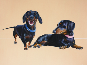 """'Magnus and Mini' - Dachshunds - Oil on canvas, 24x30"""""""