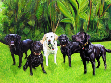 """5 Labs - Oil on canvas, 48 x 60"""""""