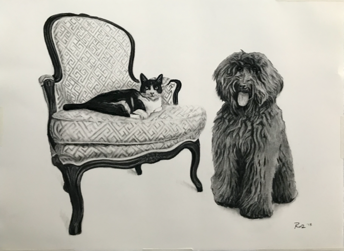"""'Cookie and Apple' - Charcoal on paper, 22x30"""""""