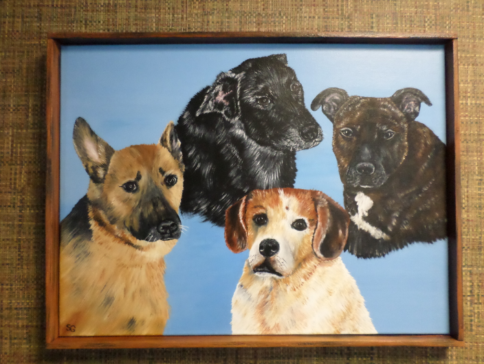4 Beautiful dogs I did for a friend on canvas.