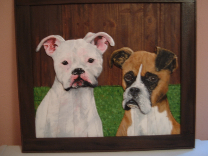 One of my 2-dimensional wood portraits of 2 boxers