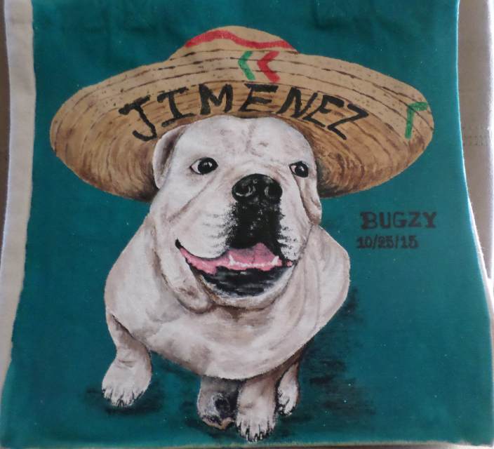 Beloved Bugzy on a canvas tote
