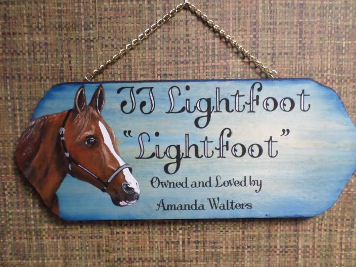 "Barn stall horse plaque, ""Lightfoot""."