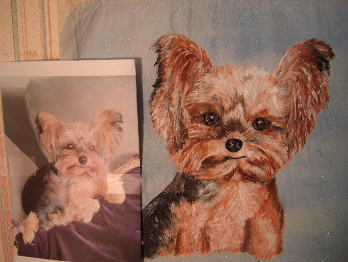 """""""Kona"""" on a canvas tote (actual pic beside her)"""