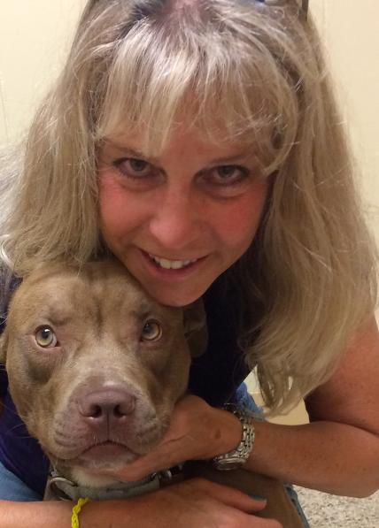 A shelter dog after her massage