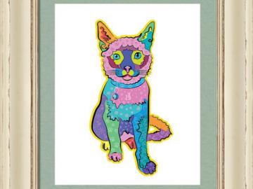 Custom pet portrait in high end custom frame