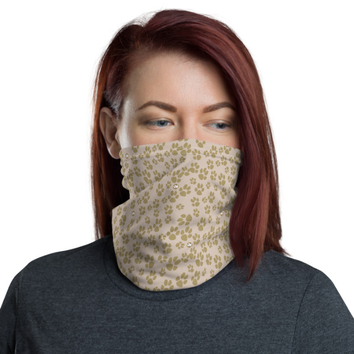 Face mask (Neck gaiter) Paw prints with bling image
