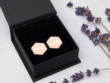 """Earrings: Sterling silver coated in rose gold """"Dog Mom"""""""