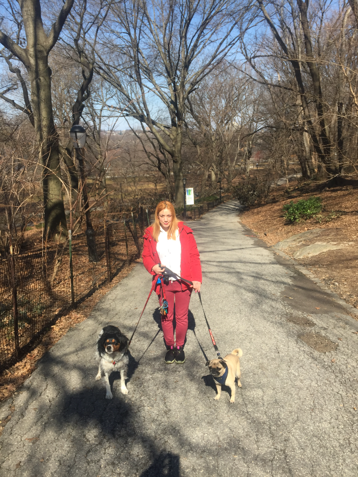 Maria walking Scout and Gus!