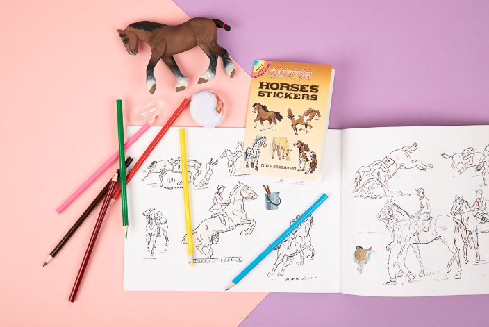How to Draw Horses book, Sticker book, Pencils, and Horse Model from LaLa Horse's Mystery Box