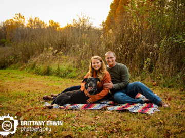 Engagement session with pet dog outside