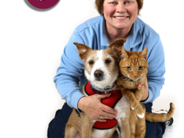 Arden Moore with Pet Safety Dog Kona and Pet Safety Cat Casey.
