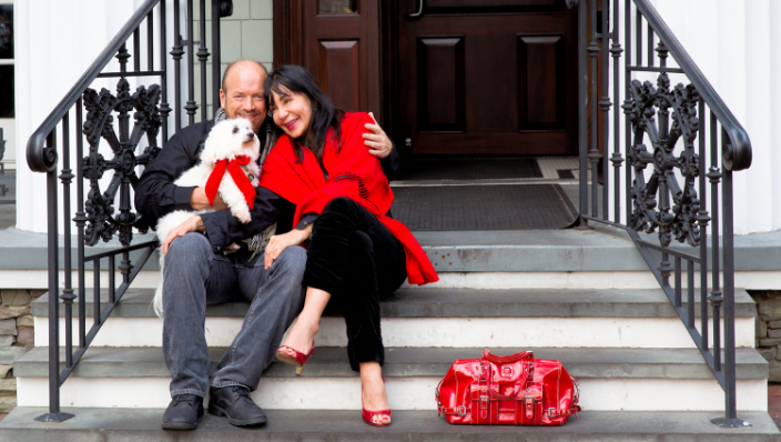 Couple with their dog in Red Bank, NJ