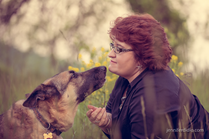 geriatric dog and owner