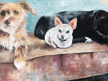 "18""x 36"" Acrylic ""Willamina, Wallace, and Elliott"""