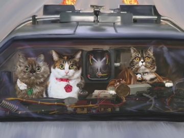 Your Cats  Traveling Back to the Future! (digital painting on canvas)
