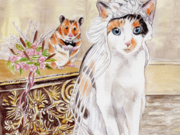 Goopy and Gilbert Save the Date (watercolor)
