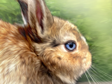 Carlos the Bunny (digital painting on canvas)