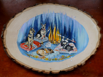 Your Dogs Glamping (acrylic on live edge basswood slice)