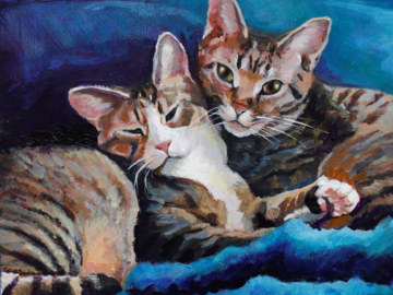 A pair of tabby cats