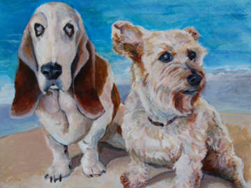 Basset Hound and Terrier mix at the beach