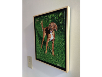 """Mac's portrait, framed and hanging on the wall, 11x14"""" canvas."""