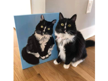 """Kitty Grimm poses at home with her new painting, 11x14"""" wood panel."""