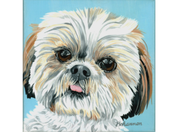 "Daisy's portrait, 6x6"" acrylic on canvas."