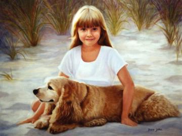 golden retriever and girl oil painting