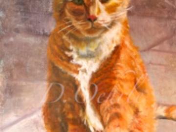 Tabby Cat in oil on Linen