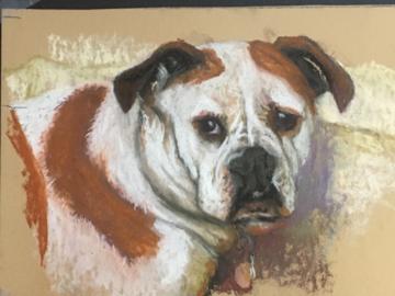 Princess, a Old English Bulldog, pastel