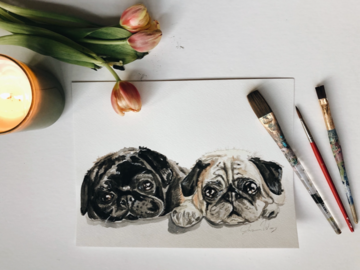 Pug Watercolor Painting