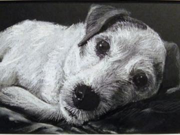 White charcoal on black paper, mini portrait