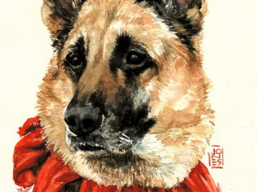 Jackie, a Christmas Memorial miniature watercolorportrait.