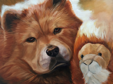 Pet Portrait of China the Chow-Chow with her stuffed animal