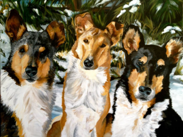 "16""x20"" Acrylic ""Christmas Collies"""