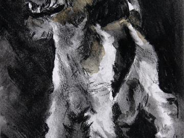 "Huey, charcoal on paper 8 x 10"" 2011"