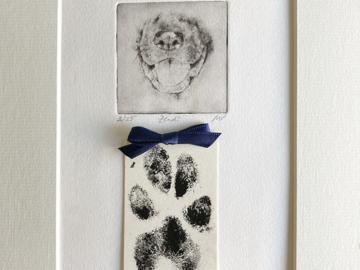 Dog Portrait with Paw Print