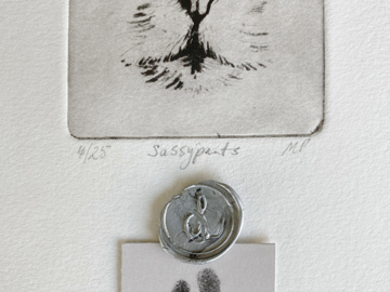 Small cat portrait with paw print and wax seal