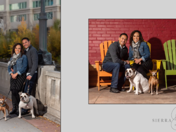 Couple in urban setting with dogs