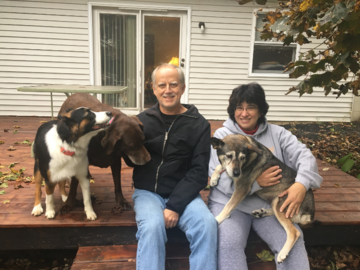 Rich and Martha with Snickers, Bella, and Muffin