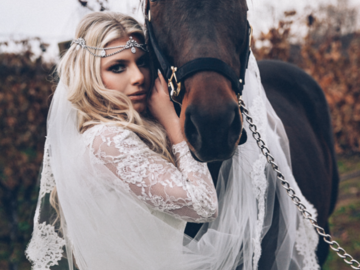 A bride with her horse
