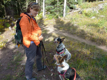 Capturing attention before we head off on a hike- me, Clementine, and foster dog Bekoff