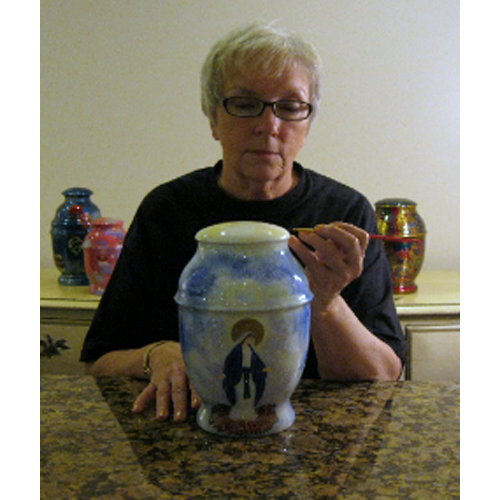 Custom Hand-painted Metal Cremation Urns